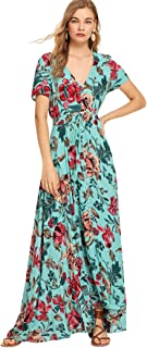 264bd0f605f Milumia Women s Button Up Split Floral Print Flowy Party Maxi Dress Large  Multicolor-5
