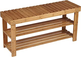 Household Essentials Bamboo 2-Shelf Storage Bench Seat, Natural