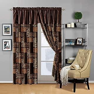 Modern 4 - Piece Dark Brown Black Animal Print Safari Curtain Set, Leopard, Zebra, Cheetah Velvet Drapes/Window Panels 116