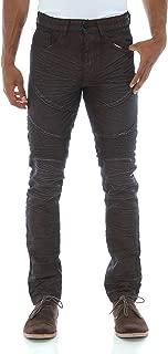 Men's Crinkle Waxed Moto Biker Denim Jeans