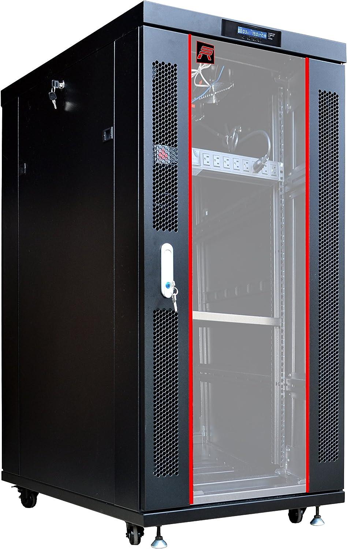 Sysracks Server Rack 27U Network Enclosure 39 inch Deep Data Cabinet on Wheels - Fully Locking Network Rack - Thermostat - LCD Screen - Power Strip - 4 Cooling Fans - Shelf