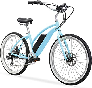 Firmstrong Urban Lady 26 350W Seven Speed Beach Cruiser E-Bicycle, Baby Blue