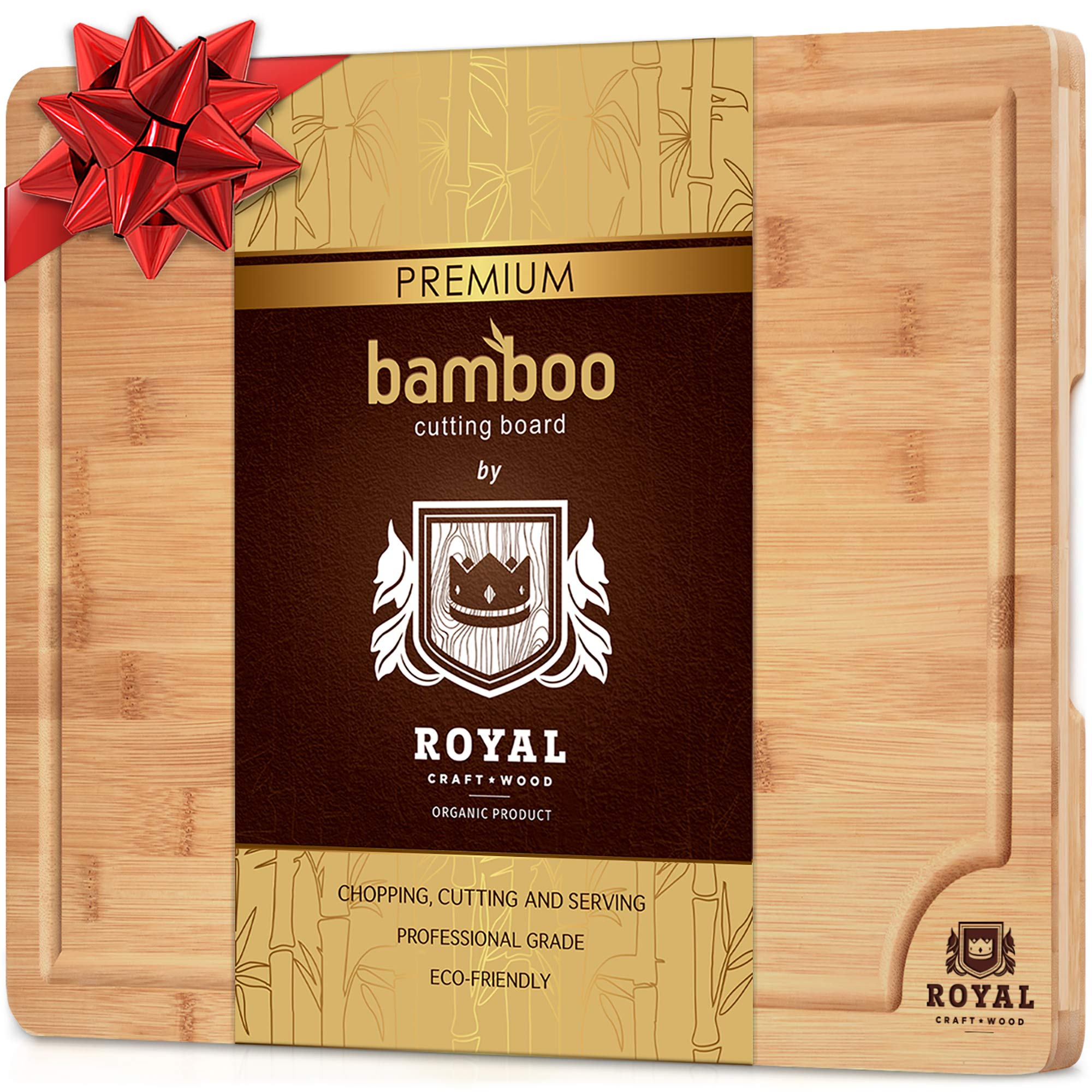 Small Bamboo Cutting Board for Kitchen with Handles and Juice Groove - Butcher Block for Chopping Meat and Vegetables - 12 x 8