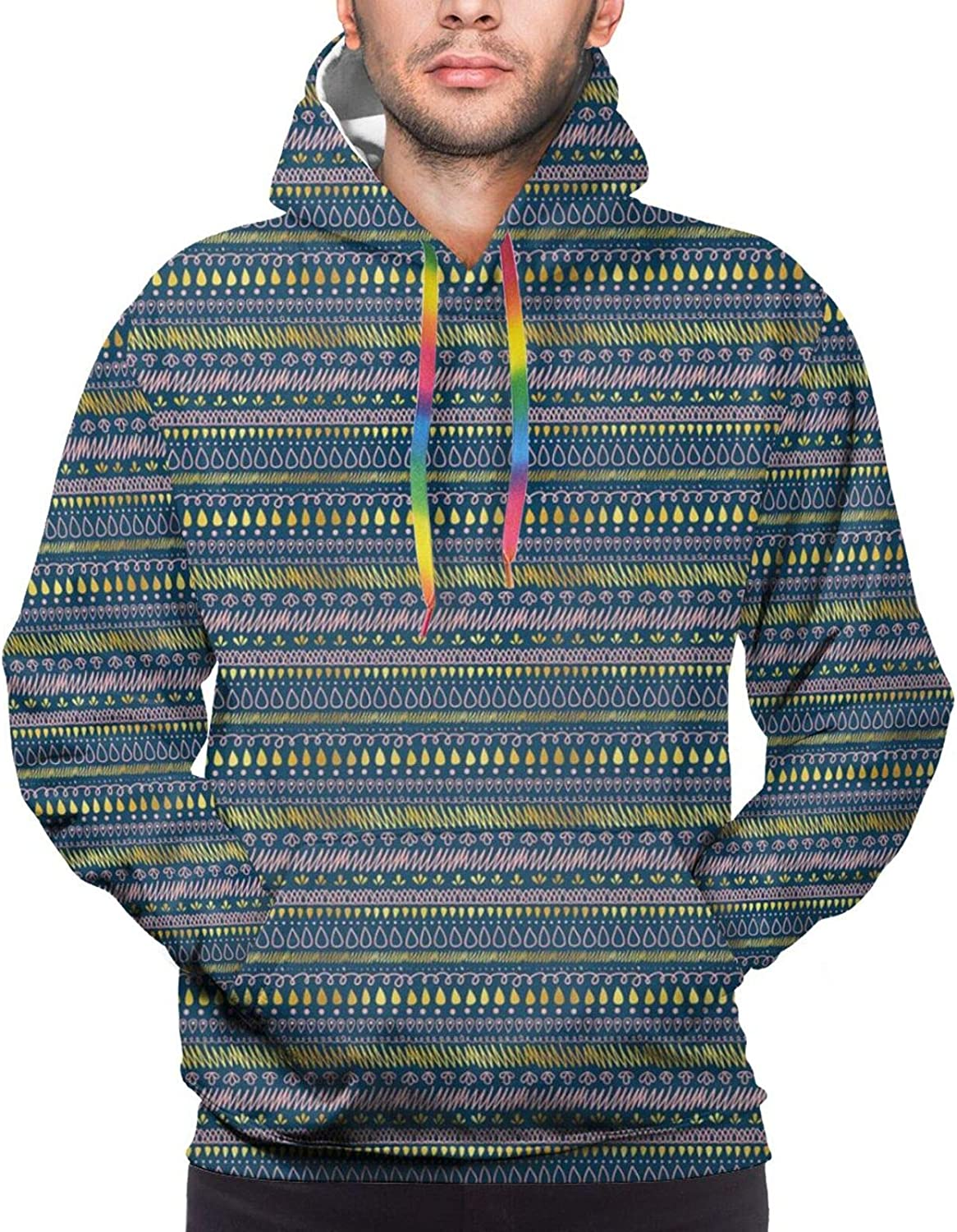 Men's Hoodies Sweatshirts,Abstract Repetition with Scribble Zigzags Drops and Spots