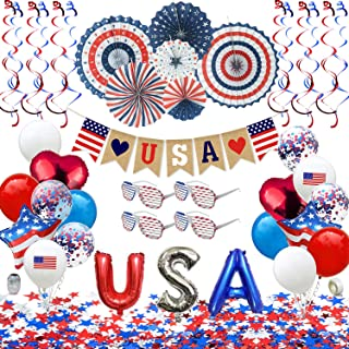 Patriotic Decorations - American Flag Party Supplies, 45 pcs Patriotic Party Supplies Including Paper Fans, Banner, Shades...