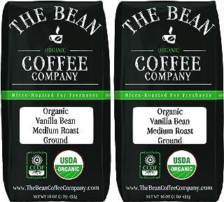 The Bean Coffee Company Organic Vanilla Bean, Medium Roast, Ground, 16-Ounce Bags (Pack of 2)