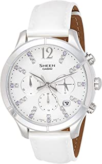 Casio Sheen Women'S White Leather Band Watch - She-5020L-7Adr