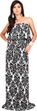 KOH KOH Womens Long Strapless Sexy Tube Cute Demask Print Summer Gown Maxi Dress