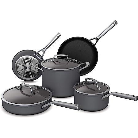 Ninja Foodi NeverStick Premium Hard-Anodized 8-Piece Cookware Set, slate grey, C38000