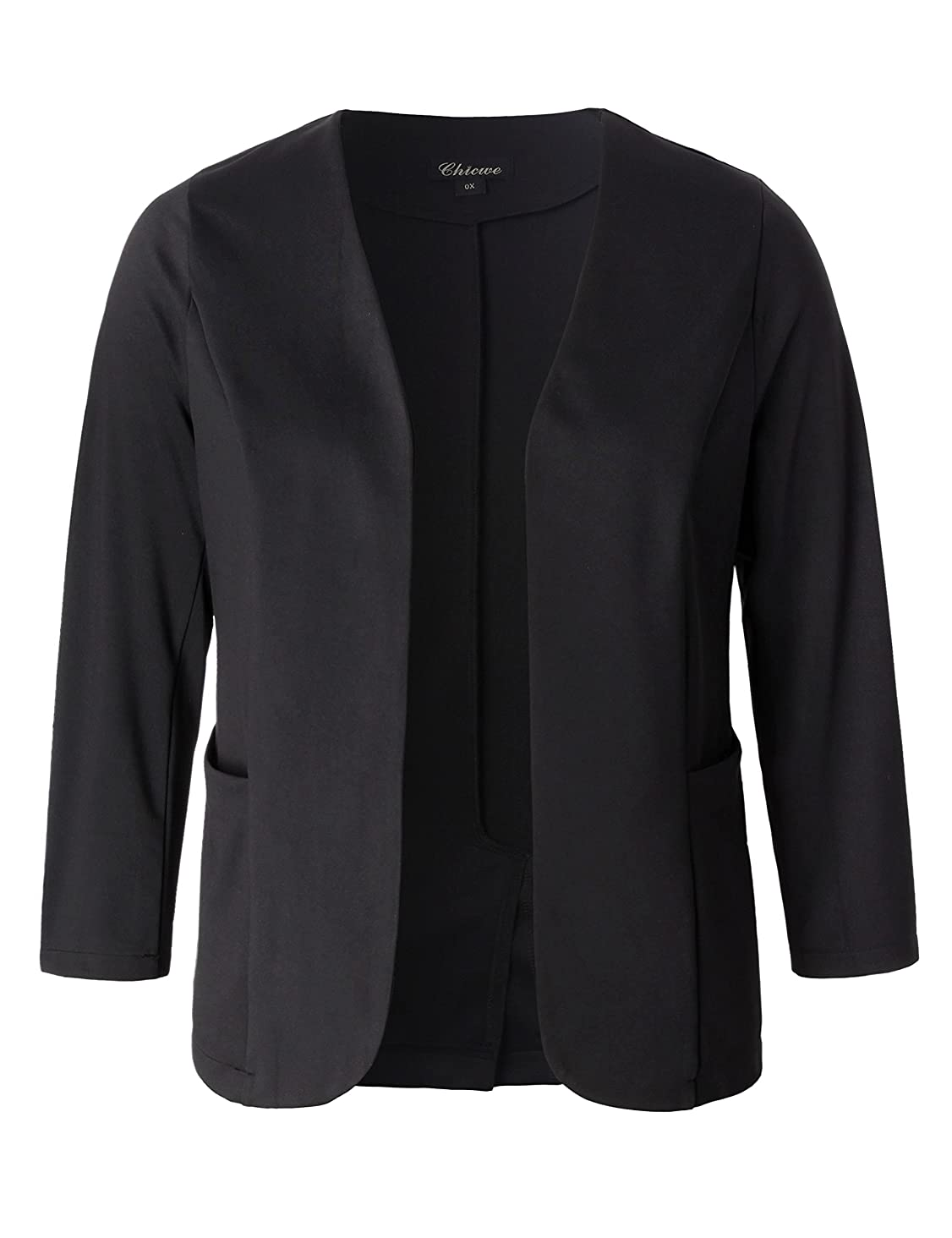 Chicwe Women's Plus Size Stretch Work Chic Outfit Blazer Jacket Pockets