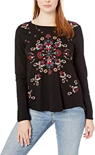 Lucky Brand womens EMBROIDERED LONG SLEEVE TEE Shirt