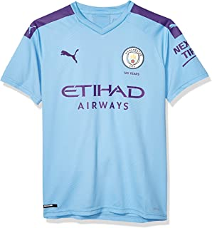 PUMA Men's Standard Manchester City MCFC Shirt Replica with Sponsor Logo JR, Hombre Team Light Blue-Tillandsia Purple, XXL