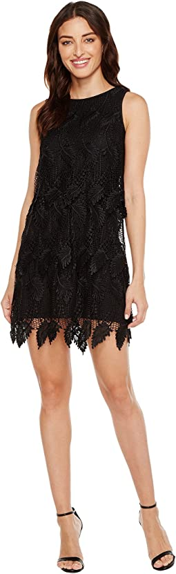 Victoriana Palm Lace Tiered Shift Dress