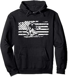 Ice Hockey Goalie USA Flag Hoodie Birthday Christmas Gift