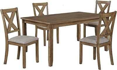 Benjara 5 Piece Dining Set with 4 Fabric Padded Chairs and 1 Table, Brown and Gray