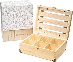 Pine Wood Tea Organizer for Tea Bags, Tea Bag Storage Box, Tea Holder, Wooden Storage Box, Tea Storage, Natural Wooden Finish, Handmade Craft, Removable Divider, Birthday Present, Gifts - J^3 Design