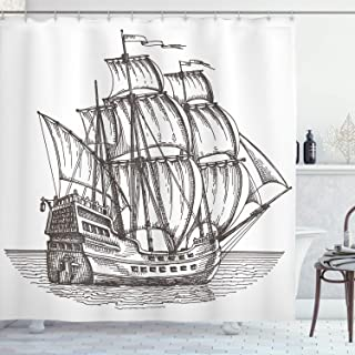 Ambesonne Pirate Ship Shower Curtain, Old Retro Style Ship Floating on Water Antique Cruise Marine Sketch Art, Cloth Fabric Bathroom Decor Set with Hooks, 75