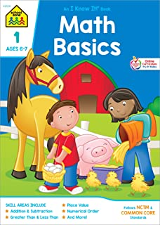 School Zone - Math Basics 1 Workbook - 32 Pages, Ages 6 to 7, Grade 1, Addition, Subtraction, Greater Than, Less Than, Com...
