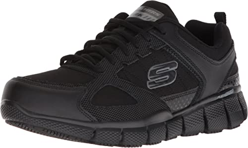 Skechers Men's Telfin-Sanphet Industrial zapatos, negro Leather Courdura, 9H W US