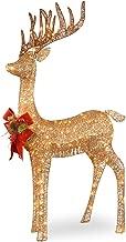 National Tree 48 Inch Sisal Splendor Champagne Standing Deer with 105 Mini Clear Lights (DF-105010U)