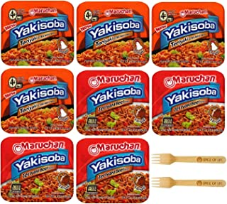 Maruchan Yakisoba Teriyaki Chicken and Teriyaki Beef Variety, 8 Pack with Spice of Life Sporks