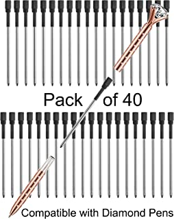 """Pen Refills Replacement Ballpoint 3.2`` inch (can be cut into 2.75"""") for Pens with Big Diamond Crystal on Top Diamond Crystal Stylus Pens Metal Refill in Storage Case Medium Pack of 40 (Black)"""
