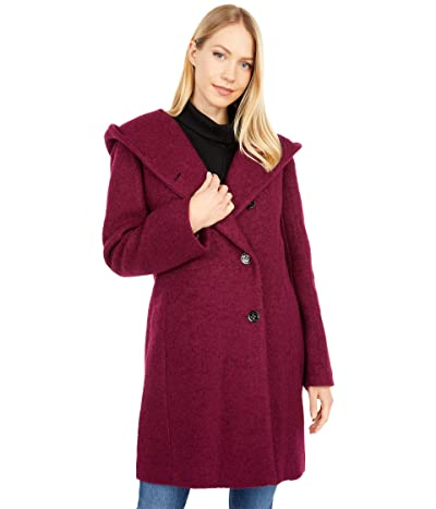 Cole Haan Dropped Shoulder Button Front Sweater Wool Boucle Coat (Magenta) Women