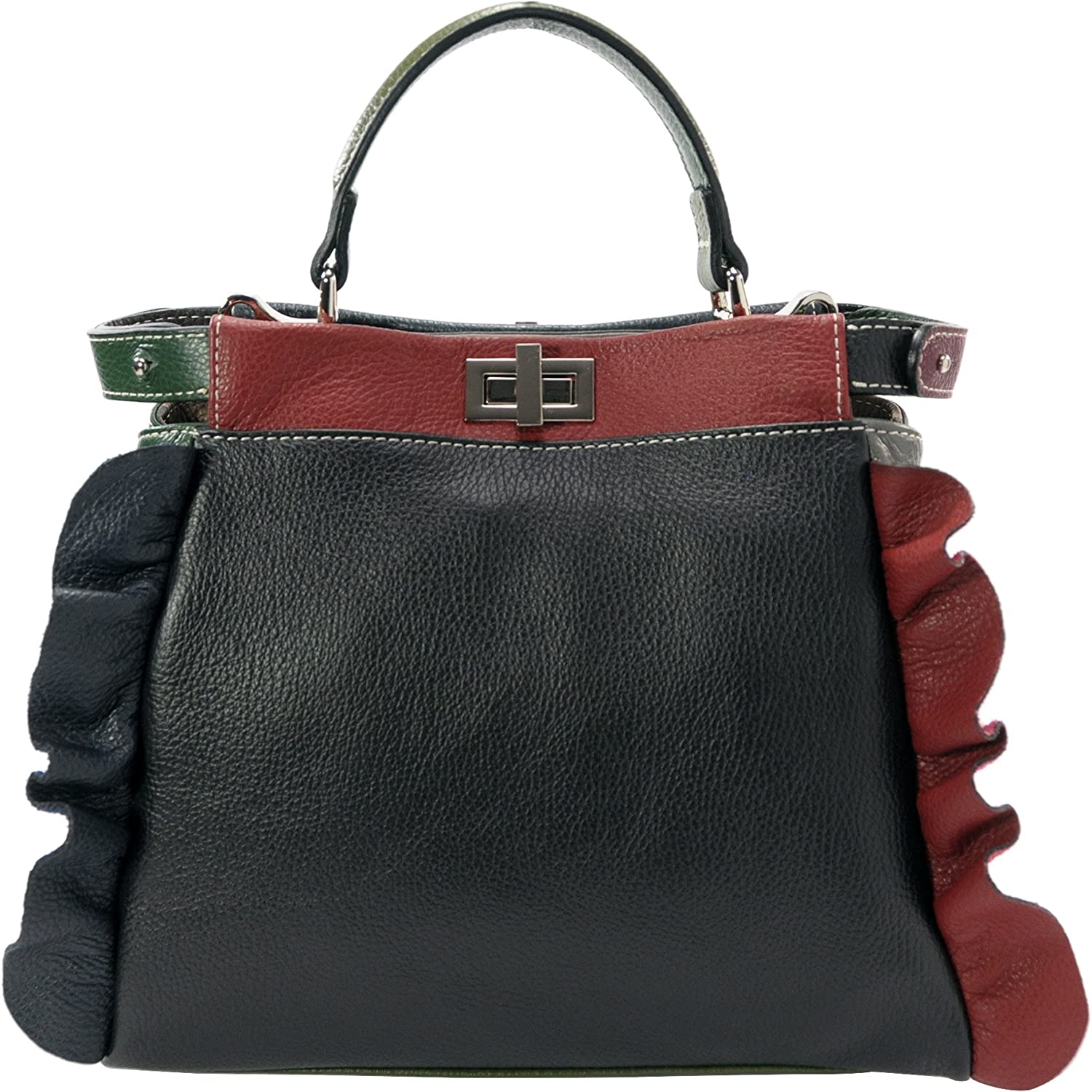 Alice.Woman's Handmade multicolour bag with shoulder strap.Col.BLACK WINE. Real leather. Made in  in Florence. Metal zippers with two pockets.size.cm.W.26-30 H.27 D.13. The shoulder strap is removable and is 110 cm long.Delivery from  Florence a