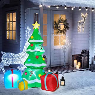 DearHouse 7 FT Inflatable Christmas Tree with Multicolor Gift Boxes Self Inflating Electric Blow Up Lighted Interior with Fan and Anchor Ropes, Indoor Outdoor Garden Yard Family Prop Decoration