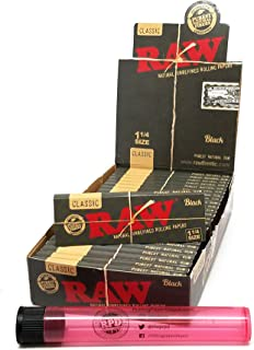 RAW Black Natural Unrefined 1 1/4 Rolling Papers (24 Packs/Full Box) with Rolling Paper Depot Doob Tube