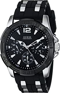 GUESS Mens U0366G1 Black Multi-Function Sporty Watch with Silver Interlinks