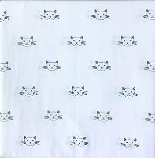 Cynthia Rowley 4 Piece Full Size Sheet Set Black Drawn Kitty Cat Faces on White