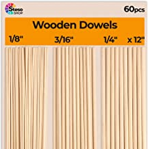 Wooden Dowel Rods for Craft - 60 pcs Round Wood Dowels 12 inch in Varying Sizes - 1/8, 3/16, 1/4 - Different Rods - Craft ...