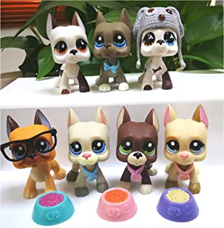 LPSOLD Old LPS Great Dane Set 244 577 750 1519 1688 184 1647 White and Brown Grey Blue Eyes Dog Puppy Lot with Accessories Lot Collection Toy Figure Girls Boys Gift 7 PCS