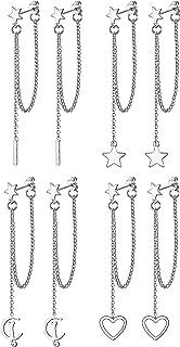 Udalyn Juego de 4 pares de pendientes de cadena para mujer, de acero inoxidable, hipoalergénicos, con bola, estrella, circ...