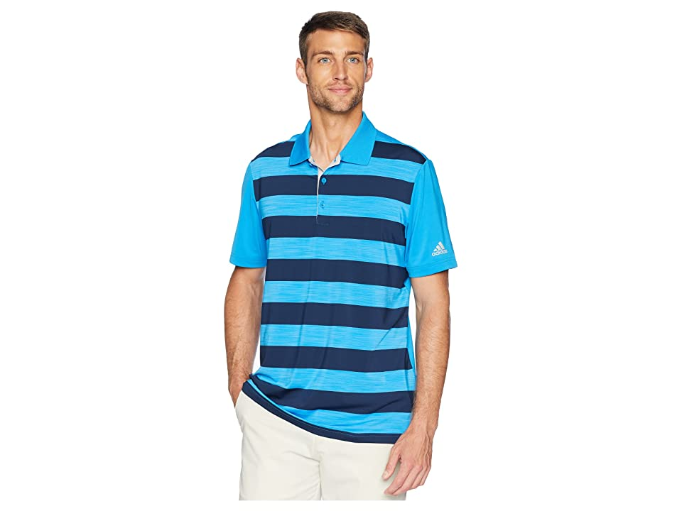 adidas Golf Ultimate Rugby Stripe Polo (Bright Blue/Bright Blue/Collegiate Navy Heather) Men