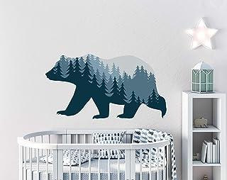Woodland Wall Decal - Bear Full Color Mural - Woodland Animal Wall Stickers - Pine Tree Wall Art - Woodland Nursery Kids Bedroom Decor PS85