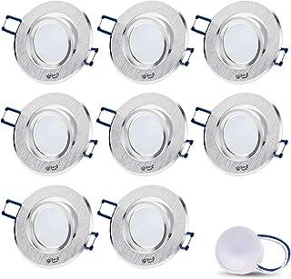 Foco LED empotrable orientable, extraplano, Star redondo mate/cromo/plata, incluye módulo LED de 5 W, profundidad de montaje: 30 mm, 230 V, IP20, foco empotrable para techo