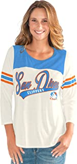 G-III Sports NBA San Diego Clippers Women's End Zone 3/4 Sleeve Tee, XX-Large, Vintage White