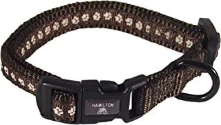 Hamilton Pixie Pet Classic Collection Fashion Adjustable Dog Collar, 3/8-Inch, Pewter, Brown