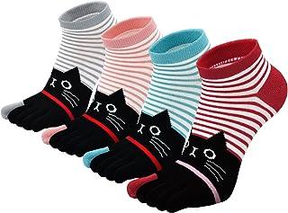 Calcetines divertidos del dedo del pie de las mujeres calcetines de algodón calcetines del dedo del pie de cinco dedos
