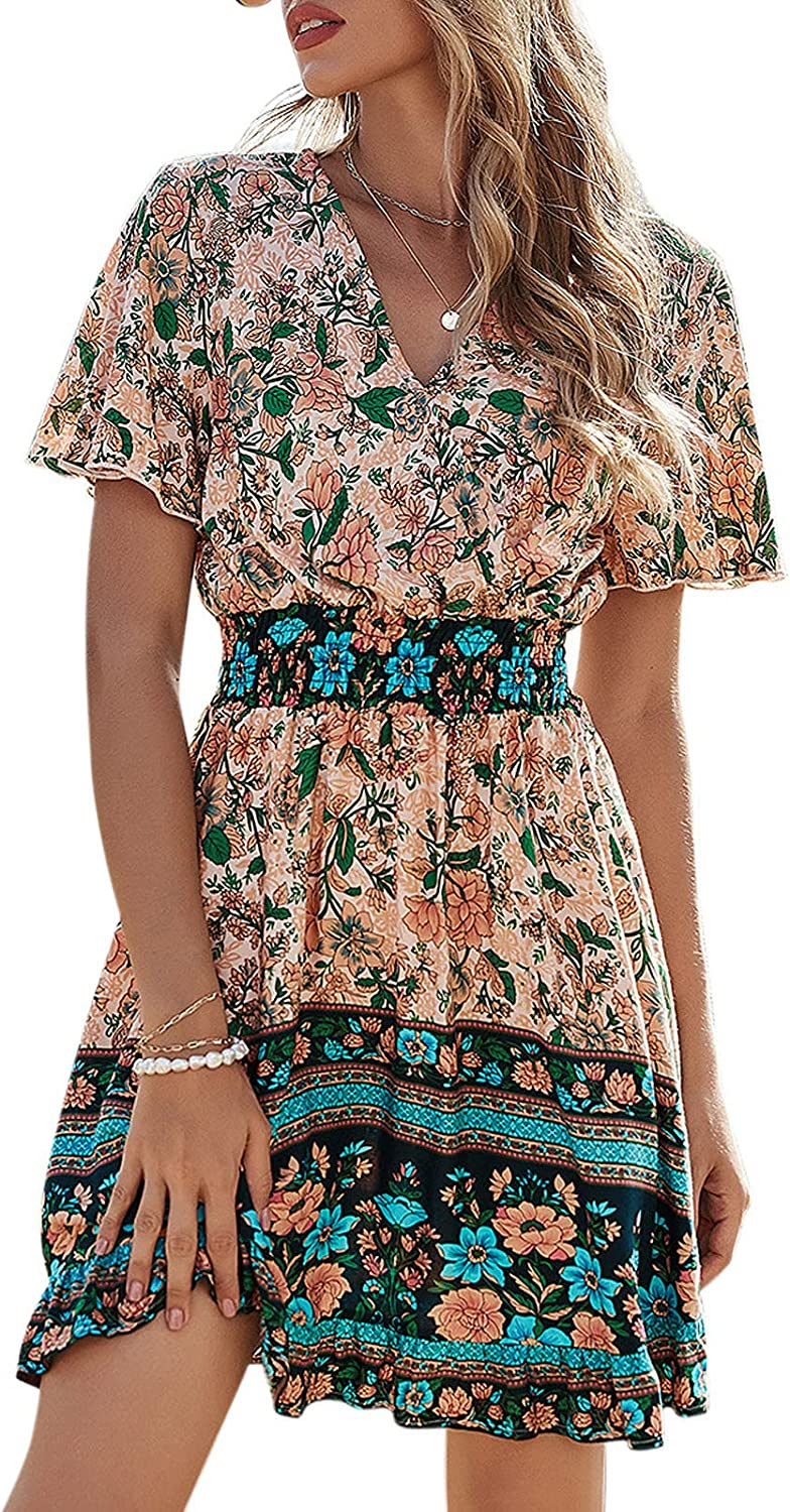 Halfword Women's Casual Bohemian SEAL limited product Manufacturer OFFicial shop Dresses Long Prin Floral Sleeve