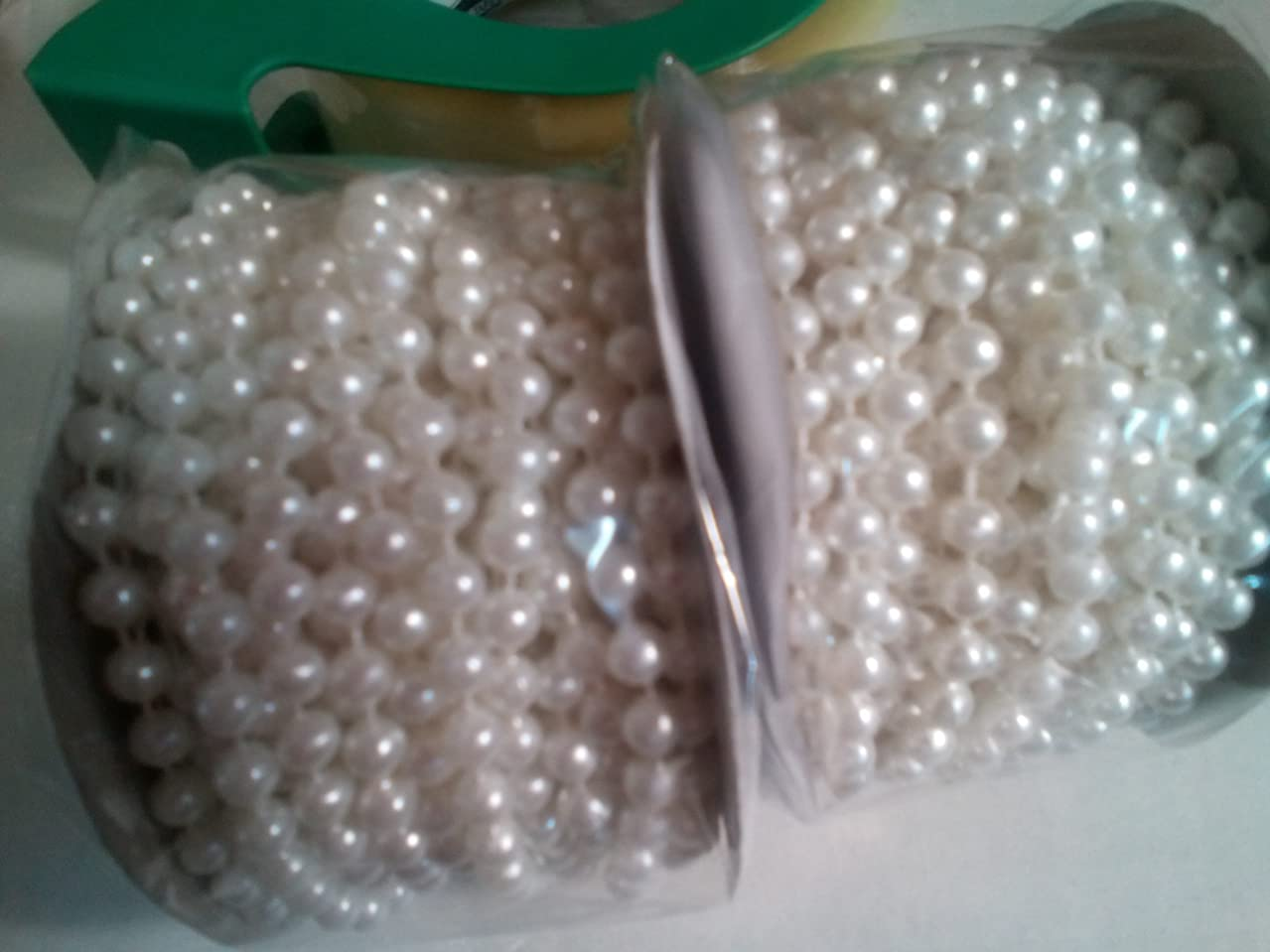 6mm Faux Pearl Plastic Beads on a String Roll -white, 2 rolls, 12 yards per roll