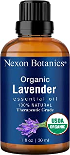 Nexon Botancs Organic Lavender Essential Oil 30 ml - USDA Certified Natural Therapeutic Grade Lavender Oil - Great for Aromatherapy and Diffuser - Blend of Pure Lavandula Angustifolia and Hybrida