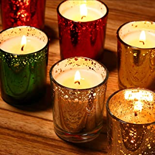 flamecan Speckled Gold Glass Votive Scented Candle Gift Set (8 Pack) , 100% Natural Soy Wax for 2.5 Oz Per Cup Portable Glass Candles with Fragrance Essential Oils for Stress Relief