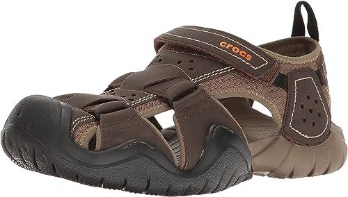 Crocs Men's Swiftwater Leather Fisherhomme M Flat Sandal