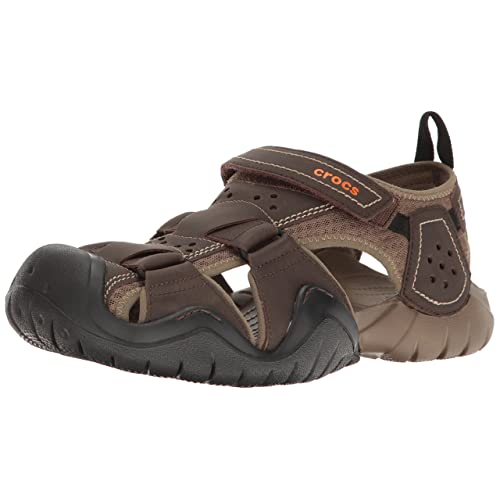 f836660718 Crocs Men's Swiftwater Leather Fisherman Sandal