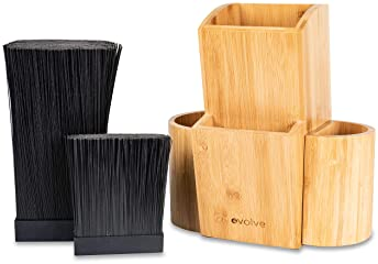 Evolve Bamboo Knife Block - Universal Kitchen Knife Holder - Safe & Space Saver Knife Storage that Covers Knife Blade...