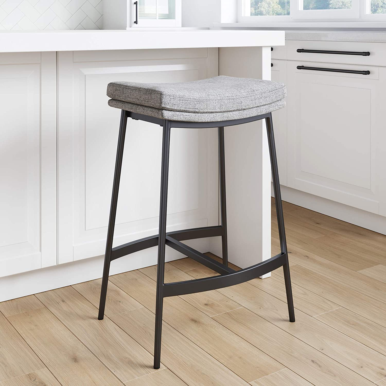 Nathan James 9 Arlo Modern Backless Upholstered Kitchen Counter Bar  Stool with Double Layered Saddle Seat and Metal Base, Grey/ Matte Black