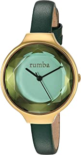 RumbaTime Women's 'Orchard Gem Leather' Quartz Stainless Steel Casual Watch, Color:Green (Model: 27563)